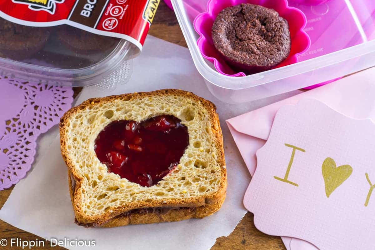 Gluten-Free Sweetheart Sandwich for Valentine's Day with Cherry Jam and Nutella