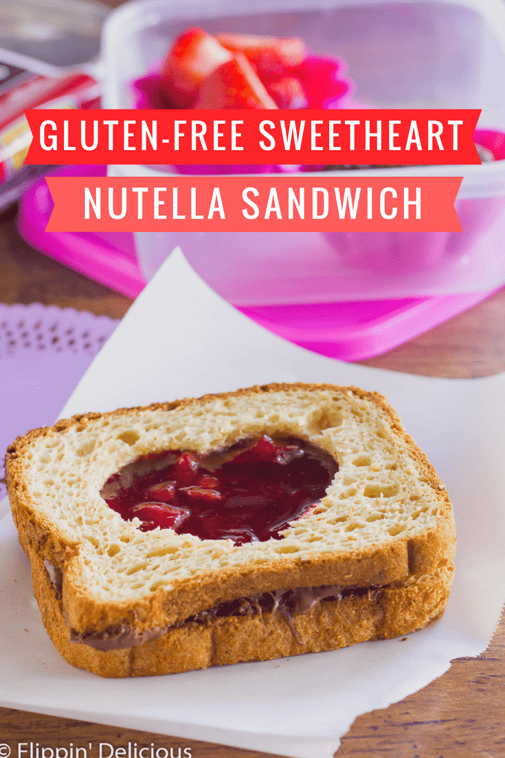 Gluten-Free Sweetheart Sandwich with Nutella and cherry jam for Valentine's Day.