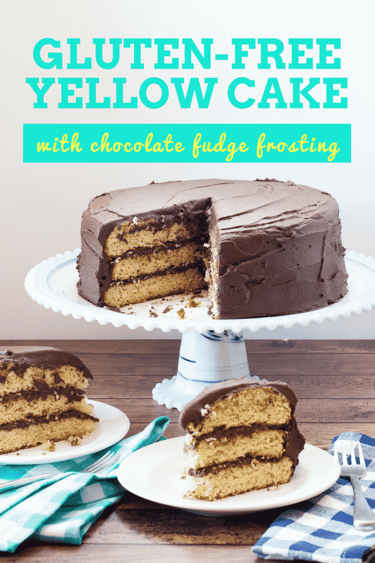 Gluten Free Yellow Cake with Chocolate Fudge Frosting has a moist and tender crumb with creamy chocolate fudge frosting. Vegan and Dairy Free options. flippindelicious.com #glutenfreecake #glutenfreebaking #glutenfreerecipes