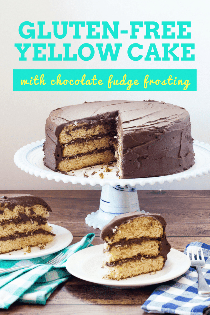 Gluten Free Yellow Cake with Chocolate Fudge Frosting has a moist and tender crumb with creamy chocolate fudge frosting. Vegan and Dairy Free options.