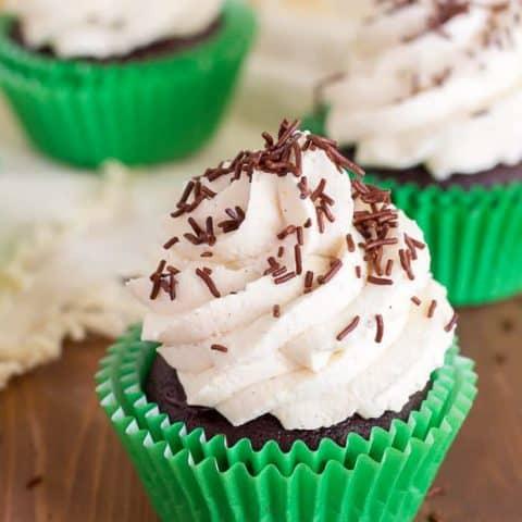 Gluten-Free Irish Cream Cupcakes are filled with Irish cream ganache, and topped with fluffy Irish cream whipped cream. The ultimate cupcake for any Irish cream lovin' leprechauns in your life!
