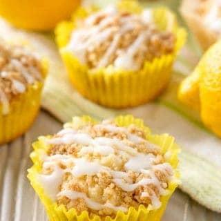 Gluten Free Lemon Crumb Muffins are sweet & bright gluten free lemon muffins with streusel. Great flavor from lemon juice, lemon zest, & lemon extract! Dairy free option.
