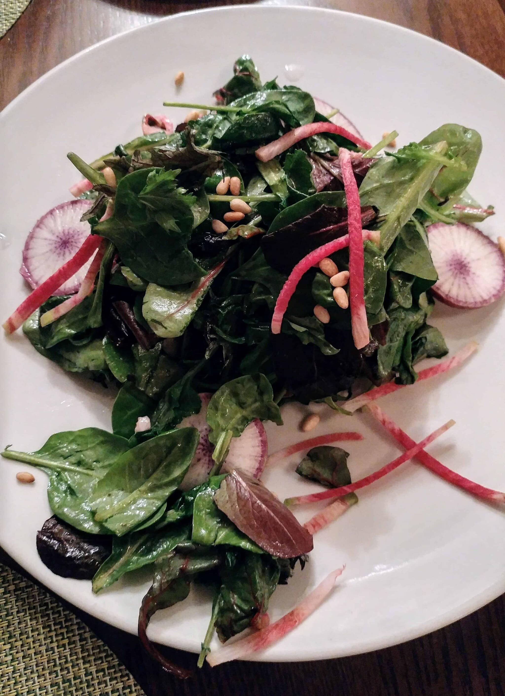 salad with lettuce, spring mix and radish from the artisan restaurant at ojo caliente new mexico