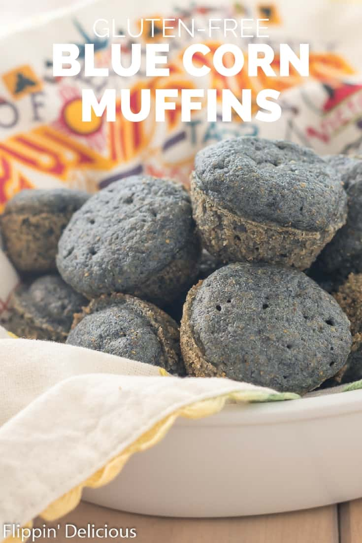 Easy gluten free blue corn muffins- sweet, tender, with a golden crust. Made WITHOUT all-purpose gluten free flour with a dairy free option.