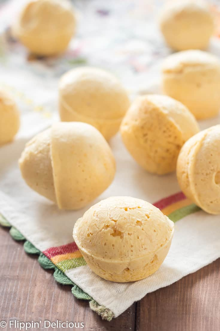 Make any dinner special with Dairy Free Brazilian Cheese Breads, also known as Pão de Queijo. Naturally gluten free and grain free, the batter is made in the blender and is ready in minutes making it the perfect addition to weeknight meals.