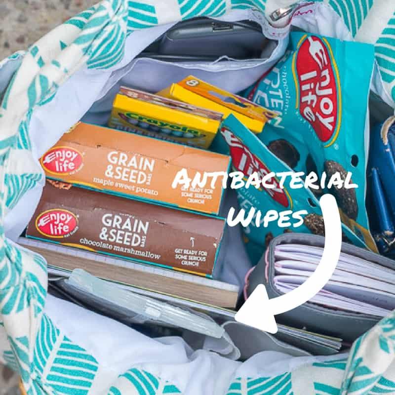 antibacterial wipes in purse