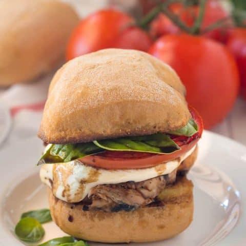 Grilled Chicken Caprese Sandwiches- a gluten free sandwich twist on the classic summer salad.