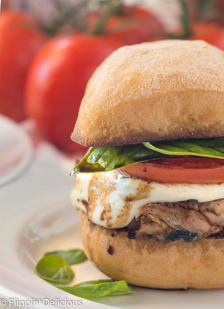 Grilled Chicken Caprese Sandwiches- a gluten free sandwich twist on the classic summer salad.