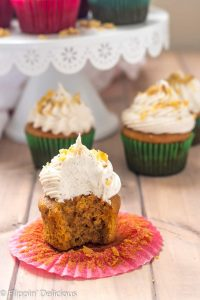 Gluten Free Carrot Cake Cupcakes- Tender, lightly sweet, studded with walnuts, and (dare I say) moist, these cupcakes are perfect for the carrot cake lover in your life. Topped with a fluffy whipped cream cheese frosting, each bite is perfection.
