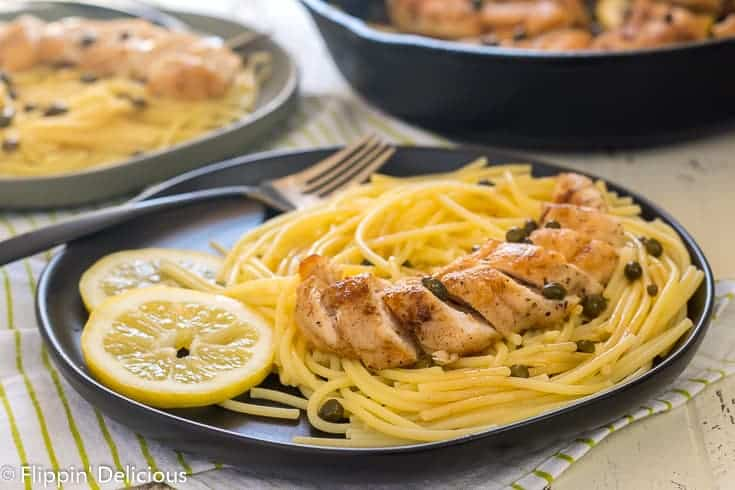 Classic Gluten Free Chicken Piccata makes a great weeknight meal, or easy at home date-night dinner. Crisp and golden buttery chicken in a light lemon butter sauce with capers, served with gluten-free pasta. Just like classic chicken piccata but made gluten-free.