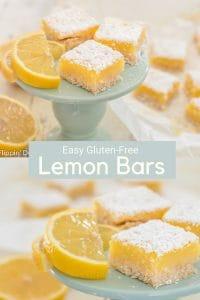 Easy gluten free lemon bars recipe. This gluten free lemon bars recipe. A buttery dairy free shortbread crust topped with a velvety lemon curd. #glutenfreebarcookie #glutenfreelemonbars #lemonbars #dairyfree