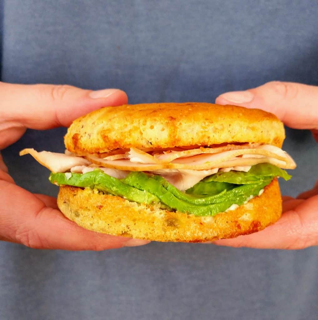 turkey and avocado sandwich on gluten free green chile cheddar bread from Sweet Nothings