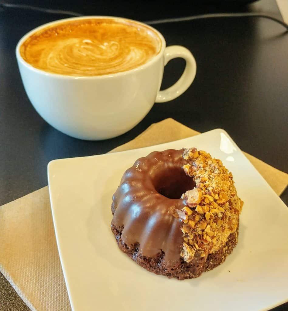 gluten free vegan chocolate almond mini bundt from Planty Sweet at Whispering Bean Coffee