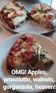 gluten free pizza at paisanos in albuquerque slice with apples and gorgonzola