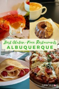 best gluten free restaurants albuquerque photo collage with gluten free fried mozzarella, vegan gluten free donut and latte, gluten free crepe with cheesecake filling and raspberries, gluten free pizza
