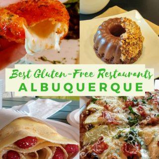 best gluten free restaurants albuquerque photo collage with gluten free fried mozzarella, vegan gluten free donut and latte, gluten free crepe with cheesecake filling and raspberries, gluten free pizza