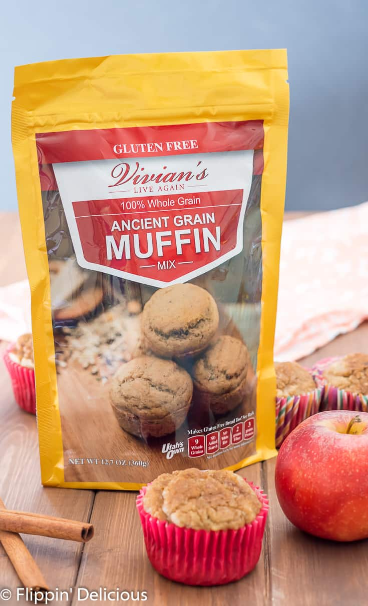 vivians live again ancient grain muffin mix with gluten free apple cinnamon muffin and gala apple