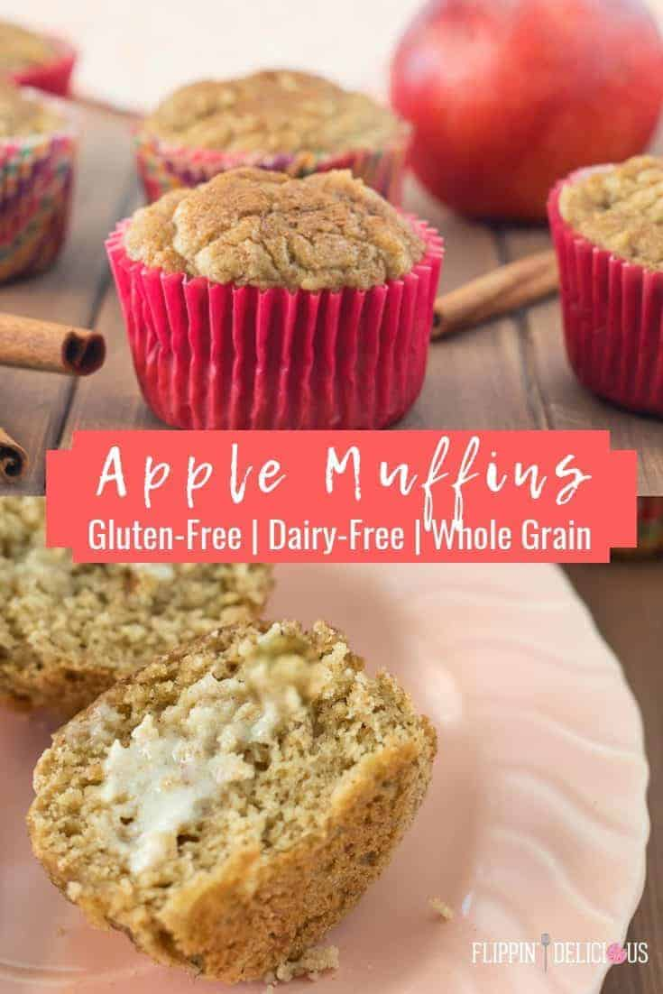 Gluten Free Apple Muffins with applesauce and grated apple are perfect for breakfast, an afternoon snack, or tucking into lunch boxes. Quick and easy recipe starting with a gluten free muffin mix! #glutenfreemuffins #glutenfreerecipe #applemuffins #glutenfree