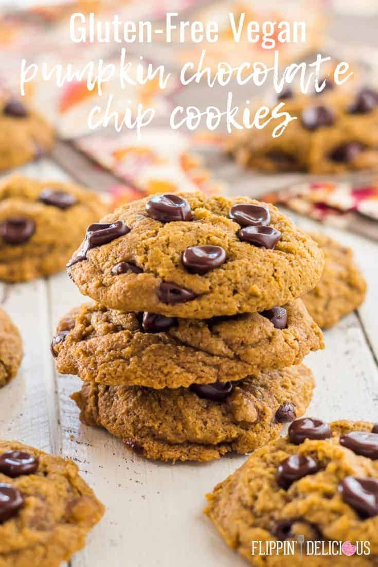 Gluten Free Pumpkin Chocolate Chip Cookies with perfect chewy edges! Coconut oil, pumpkin, sugar, gluten free flour, leavening, spices, and xanthan gum make these vegan pumpkin chocolate chip cookies too! #glutenfreecookies #glutenfreerecipes #vegancookies