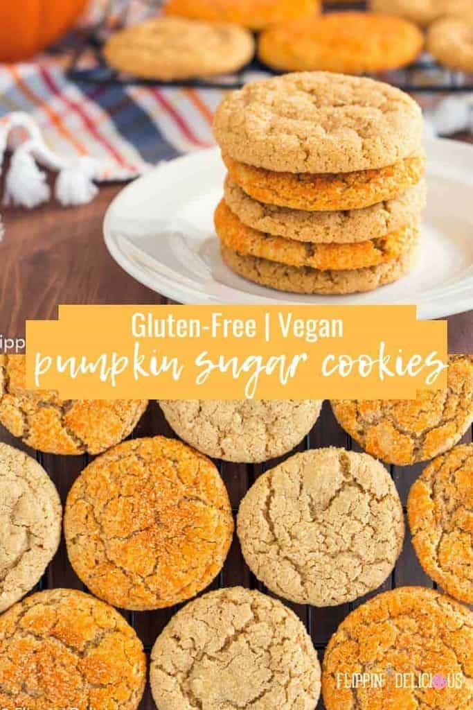 Gluten Free Pumpkin Sugar Cookies- chewy edges and crinkly sugar-sprinkled tops makes these gluten free vegan pumpkin sugar cookies the perfect gluten free fall drop cookie! #glutenfreecookies #glutenfreerecipes #vegancookies #veganrecipes