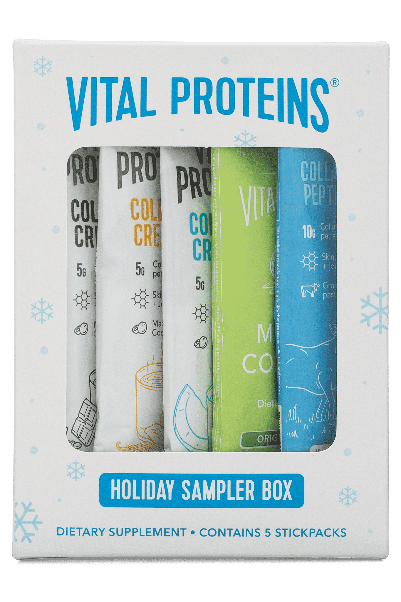 vital proteins holiday sampler box with collagen creamer, vanilla collagen creamer, coconut collagen creamer, collagen matcha, and collagen peptides