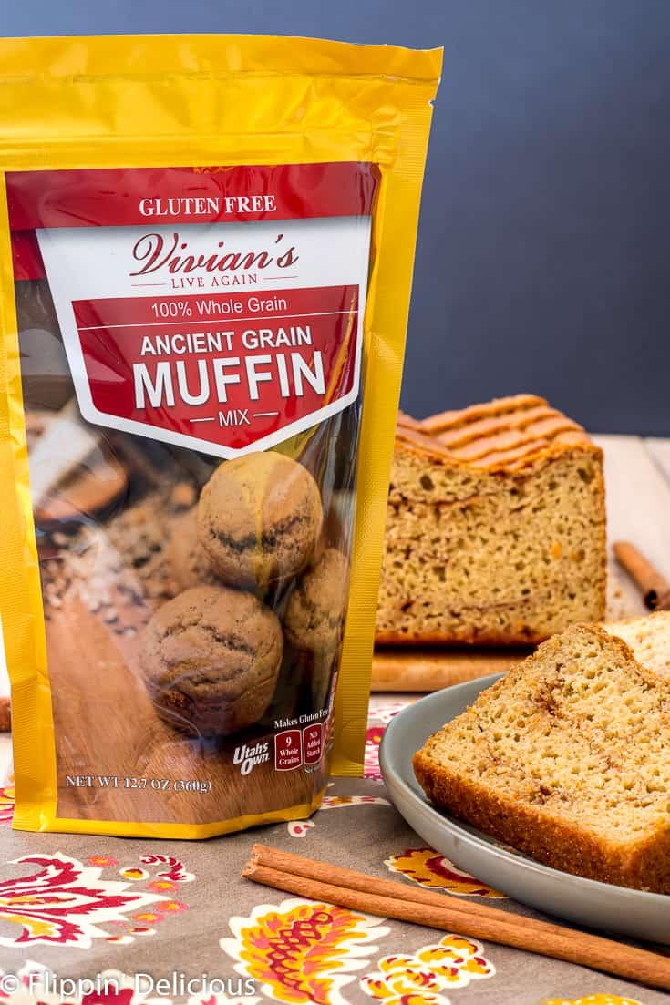 Vivians live again ancient grain muffin mix beside gluten free cinnamon swirl yeast bread