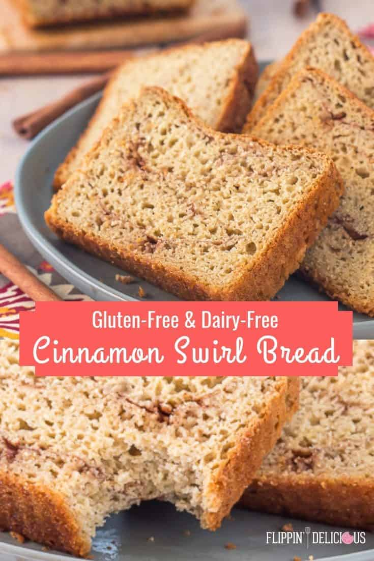 Easy gluten free cinnamon swirl yeast bread recipe. It take just 10 minutes to mix up before this sweet gluten free cinnamon bread rises and bakes, and it is dairy free too. #glutenfreerecipes #glutenfreebread #dairyfreebread