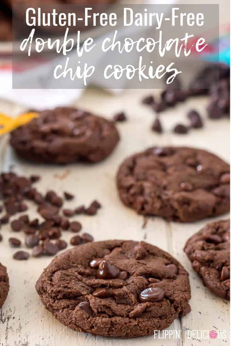 The ultimate Gluten Free Double Chocolate Chip Cookie recipe! With crispy chewy edges and fudgy center these are everything a chocolate chocolate chip cookie should be, and they are gluten free, dairy free, and have a vegan option. #glutenfreerecipes #glutenfree #glutenfreecookies #glutenfreechocolatecookies #dairyfreerecipes #dairyfreecookies #dairyfreechocolatecookies #veganrecipes #vegancookies #veganchocolatecookies #veganchocolatechipcookies #glutenfreechocolatechipcookies