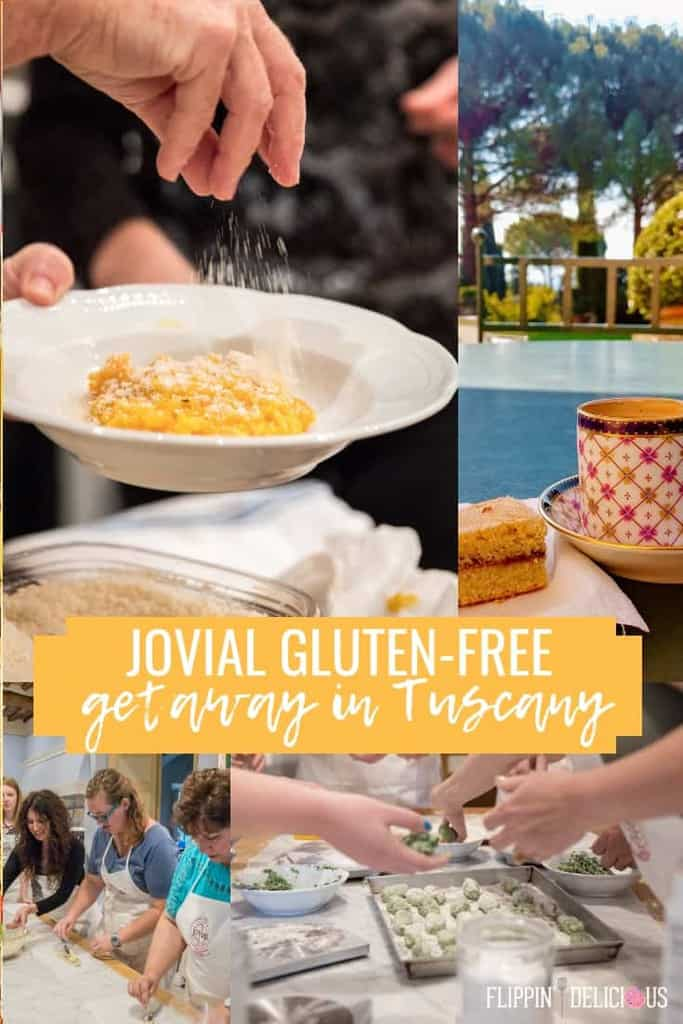 collage of images from jovial gluten free getaway in tuscany including pumpkin risotto being sprinkled with parmesan, espresso and scone overlooking the gardens at the villa, attendees making gnudi at the pasta cooking class, and attendees making gluten free baguettes at the gluten free bread class.