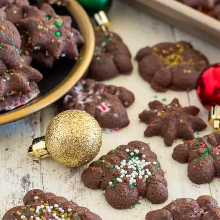 gluten free chocolate spritz cooki red, green, and gold christmas ornaments