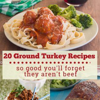 A collage of three dinner recipes using ground turkey: gluten free turkey meatballs , gluten free korean ground turkey and rice bowl, and gluten free turkey meatloaf