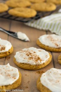 Vegan Gluten Free Pumpkin Cookies with frosting