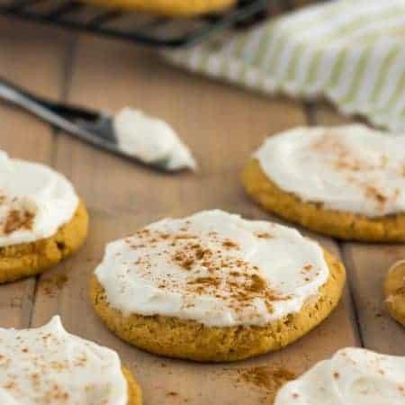 Vegan Gluten Free Pumpkin Cookies with frosting