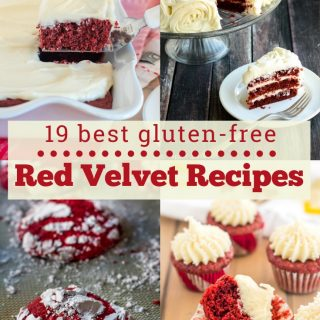"A collage with images of gluten free red velvet sheet cake, gluten free red velvet cake with three layers and cream cheese frosting rosettes, gluten free red velvet crinkle cookies, and gluten free red velvet mini cupcakes with cream cheese frosting with the text ""19 best gluten-free red velvet recips"""
