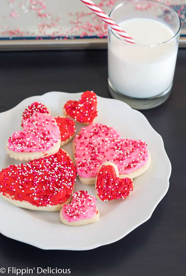311a5be70ef5f2 gluten free heart sugar cookies with pink and red frosting and pink