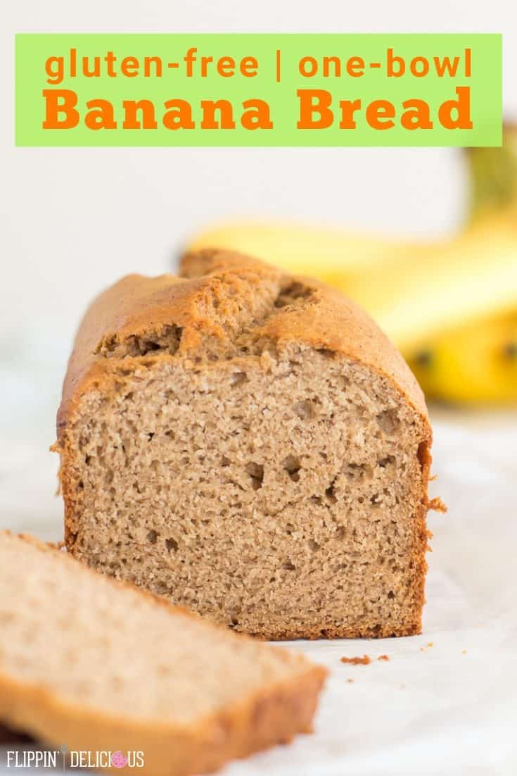Easy gluten free banana bread recipe using just one bowl! Moist Gluten free dairy free banana bread is sweet, with a tender crumb and golden edges.  flippindelicious.com #glutenfreebananabread #glutenfreebaking #glutenfree #glutenfreerecipe