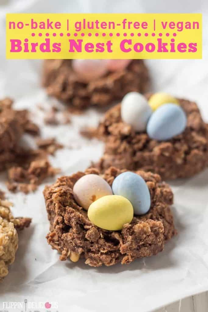 Quick & easy gluten free no bake cookies shaped into birds nest cookies with mini eggs. A fun and fest treat perfect for spring and Easter. flippindelicious.com #glutenfreeeaster #eastertreats #easterrecipe #eastercookies #glutenfree #nobakecookies