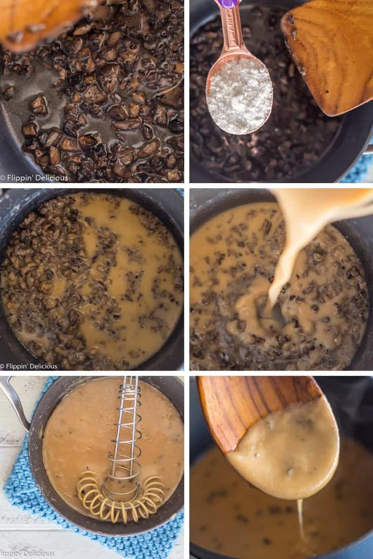 collage with six images, showing step-by-step how to make gluten free cream of mushroom soup. 1. sauting mushrooms 2. adding gluten free flour 3. golden brown mushroom and gluten free flour gluten free roux 4. adding milk and broth 5. whisking together before heating 6 finished gluten free mushroom soup dripping off a wooden spoon
