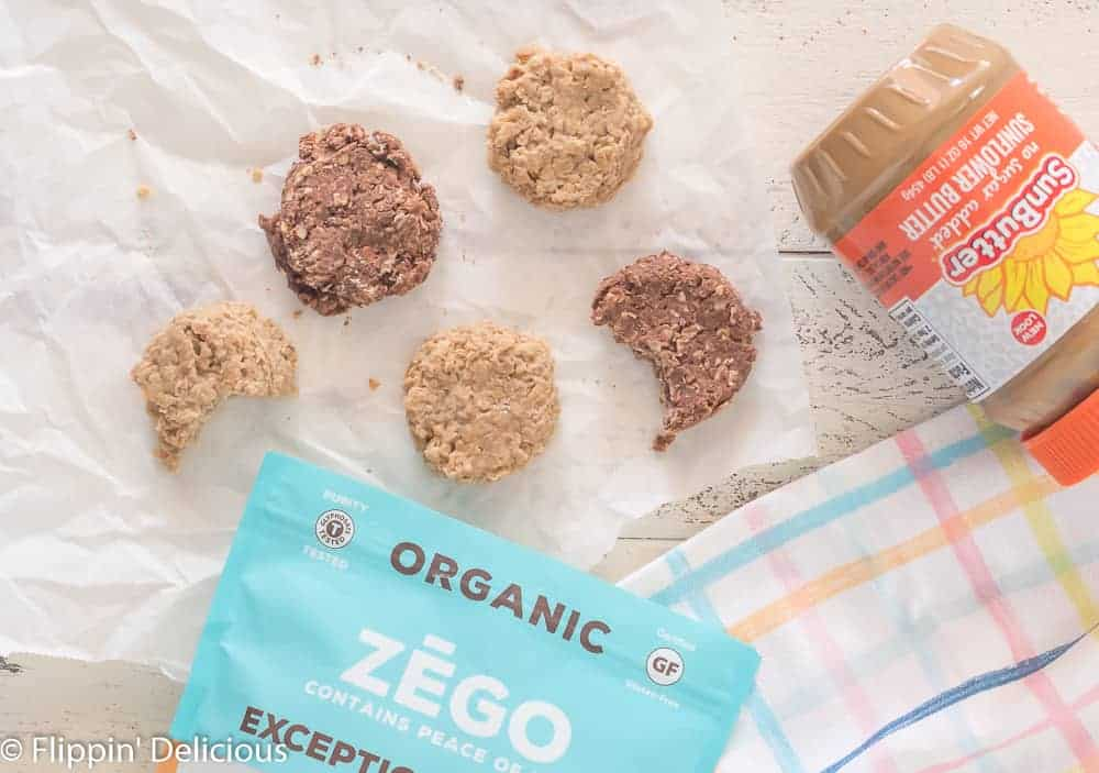 Overhead view of no bake cookies beside zego oats and SunButter