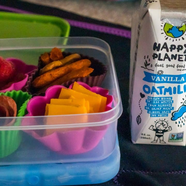 kids lunchbox container packed with nut free dairy free gluten free lunch and a dairy free oat mylk container