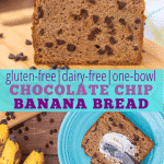 "Collage of 2 images, first image loaf of gluten free banana bread with chocolate chips on a cutting board with ripe bananas in the background, , second image overhead view of a slice of gluten free chocolate chip banana bread on a blue plate, spread with butter. with text ""gluten-free
