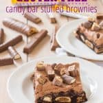"gluten free brownies stuffed with candy bars and topped with chocolate frosting with text ""gluten free candy bar stuffed brownie"""