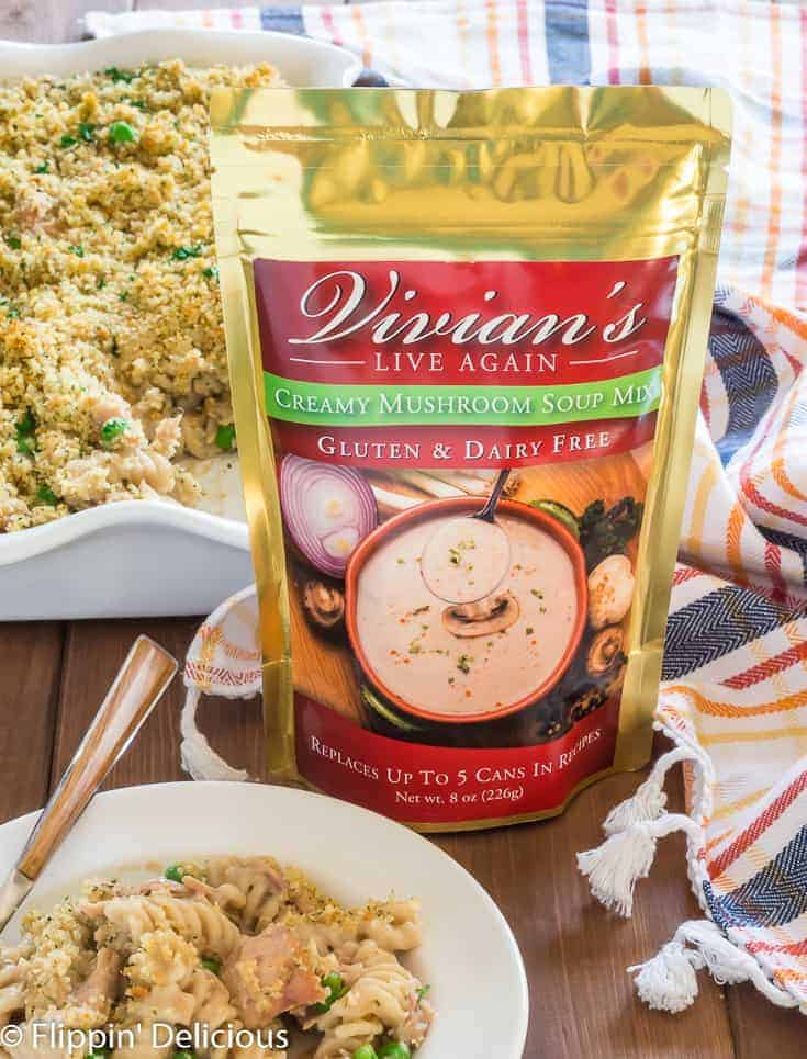 package of vivians creamy mushroom soup mix with gluten free tuna casserole
