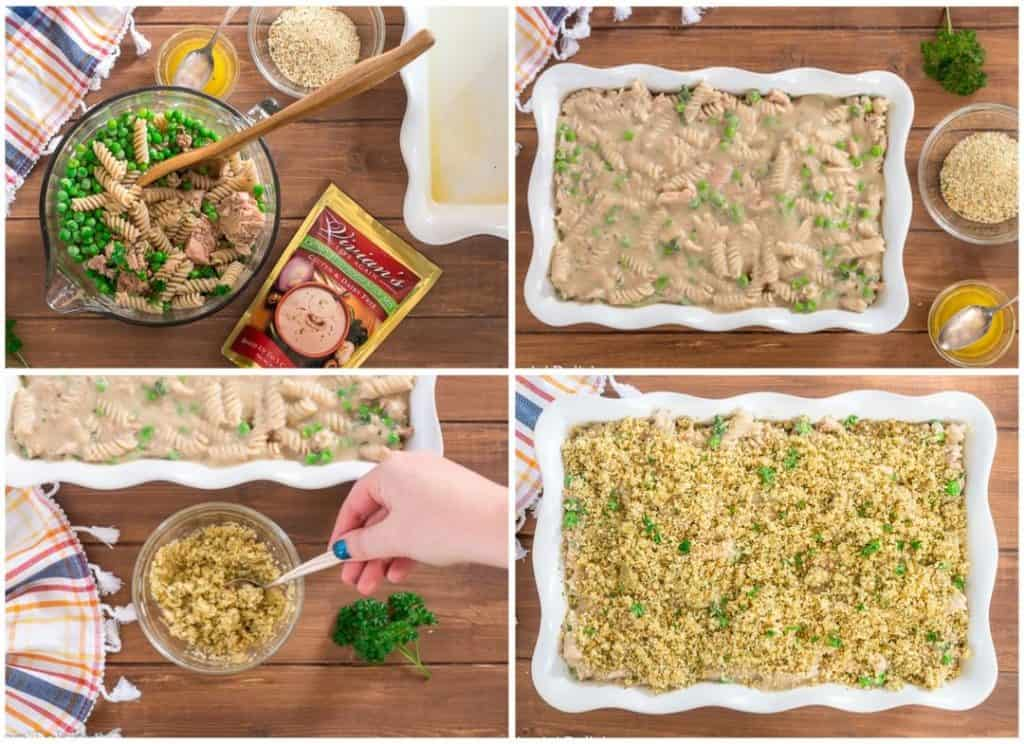 collage with step-by-step directions to make gluten free tuan casserole. 1, mix pasta with cream of mushroom soup, tuna, and peas, 2, pour mixture into prepared casserole dish, 3, mix butter and breadcrumbs, 4, sprinkle buttered breadcrumbs on casserole