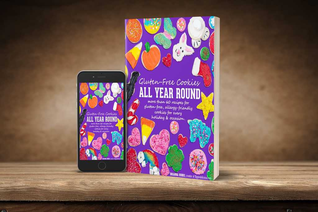 gluten free cookies all year round cookbook and ebook on phone with brown background