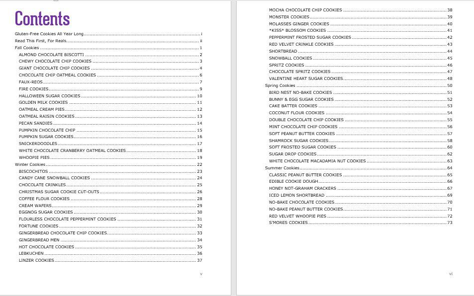 screen capture of table of contents listing all recipes in gluten free cookies all year long