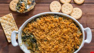 Gluten Free Spinach Artichoke Dip with Breadcrumbs