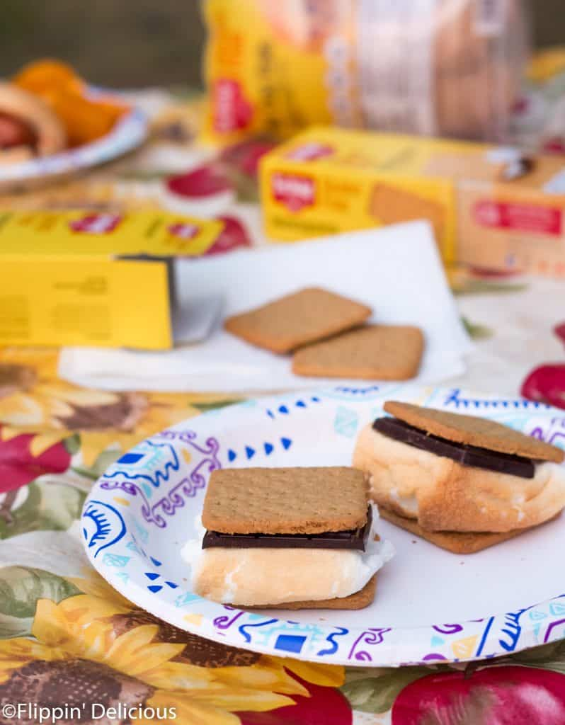gluten free s'mores on gluten free honeygrams on a picnic table with gluten free graham crackers and a gluten free hot dog in the background
