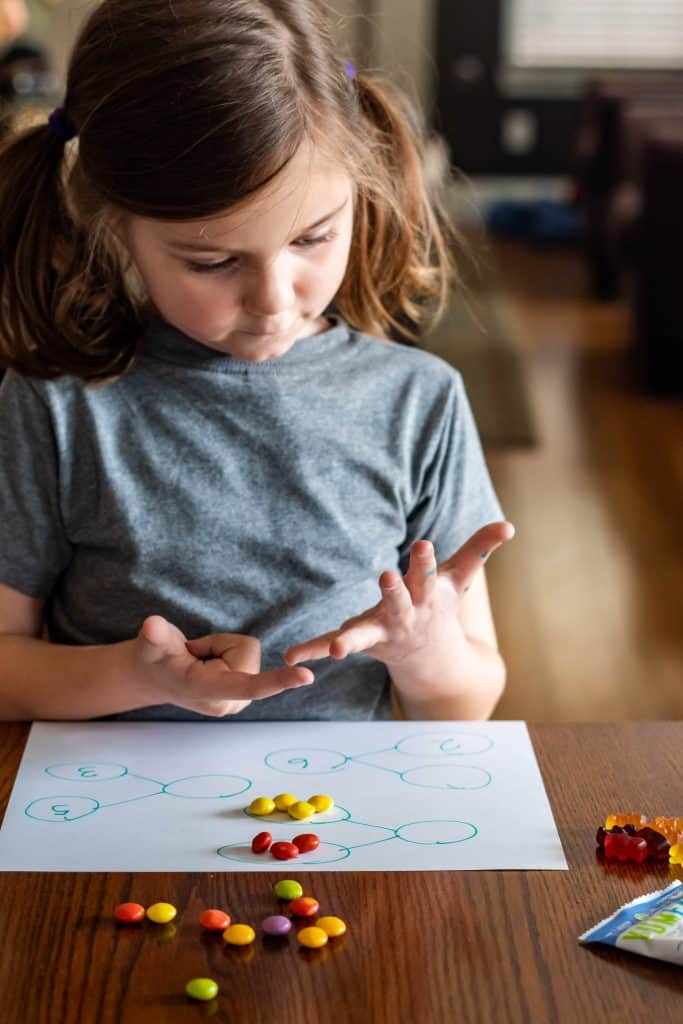 girl counting on her fingers and doing number bonds with candy