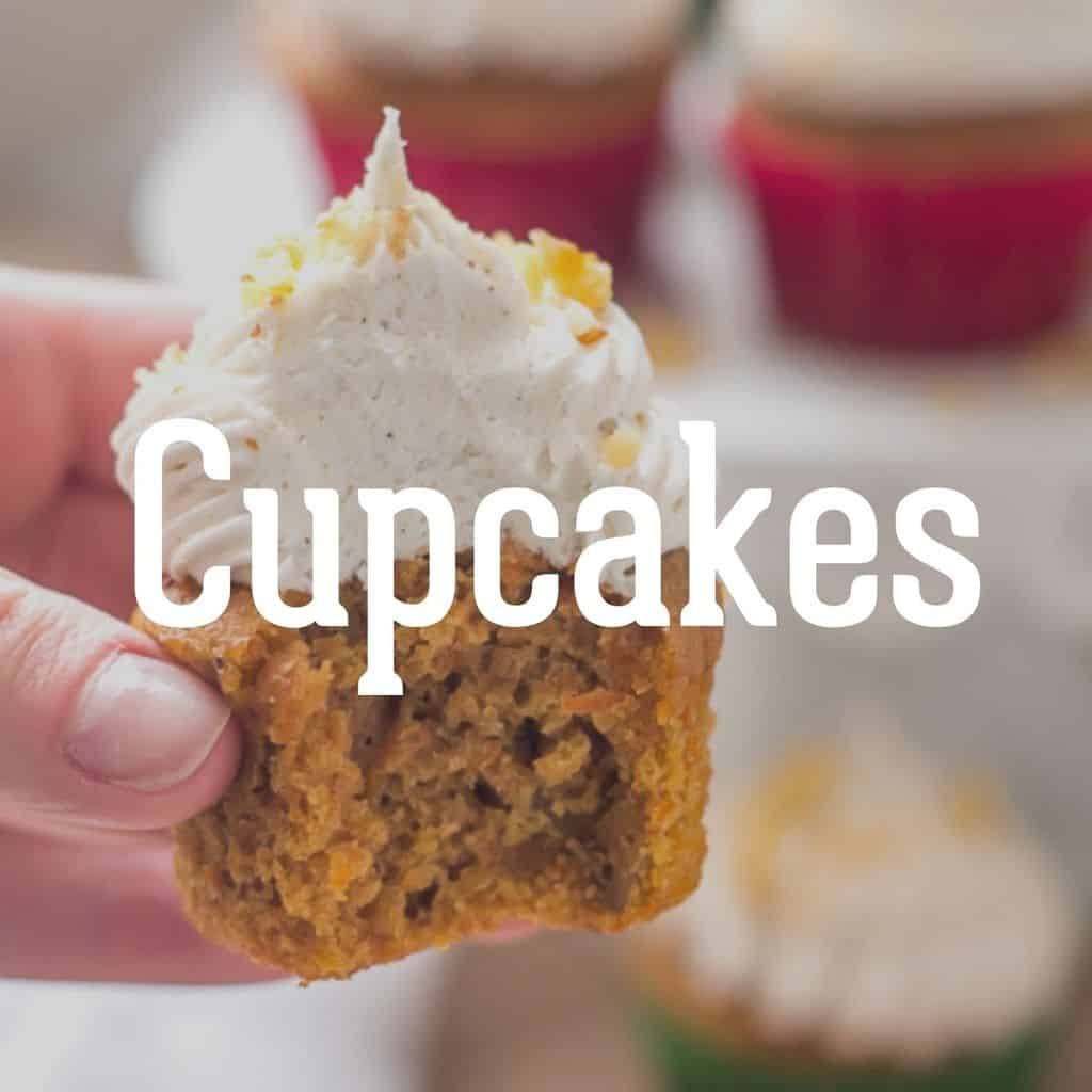 """gluten free carrot cake cupcake with text """"cupcakes"""""""